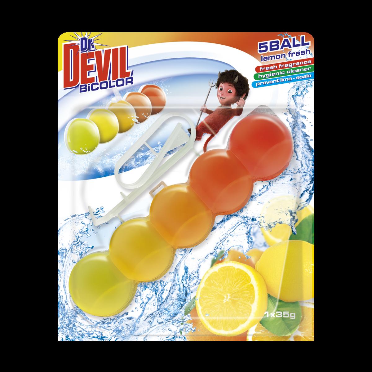 """Туалетные шарики """"Dr.Devil"""" WC BiCOLOR Лимон 1х35г"""