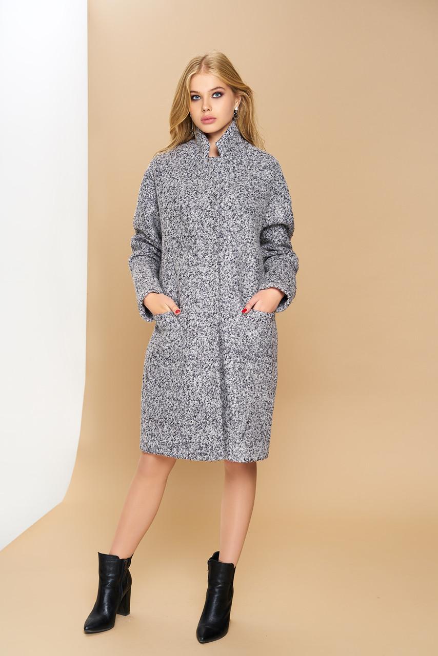 Женское демисезонное пальто оверсайз шерсть букле