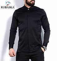 Мужская черная стильная рубашка с длинным рукавом
