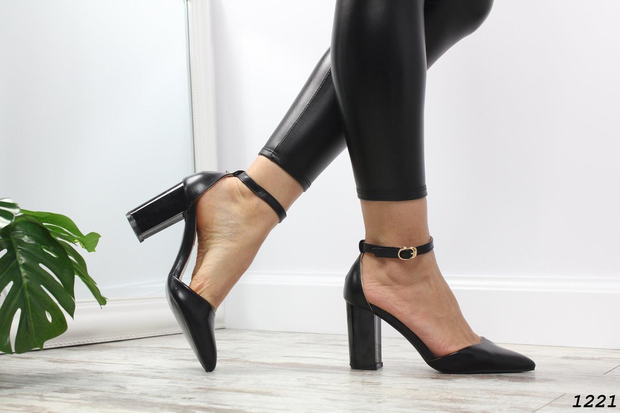 Туфли женские черные каблук: 10 см эко-кожа