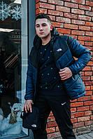 Курточка Ветровка мужская The North Face, весенняя/осенняя, цвет черный + болотно-синий