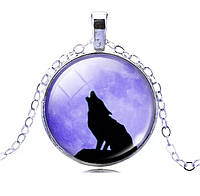 "Подвес Кабошон ""Волк фиолетовое небо"" на Хэллоуин"