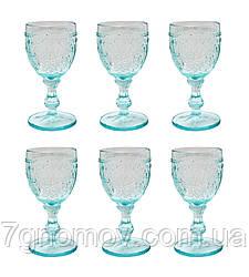 Набор 6 бокалов для вина из голубого стекла Bailey Queen по 250 мл