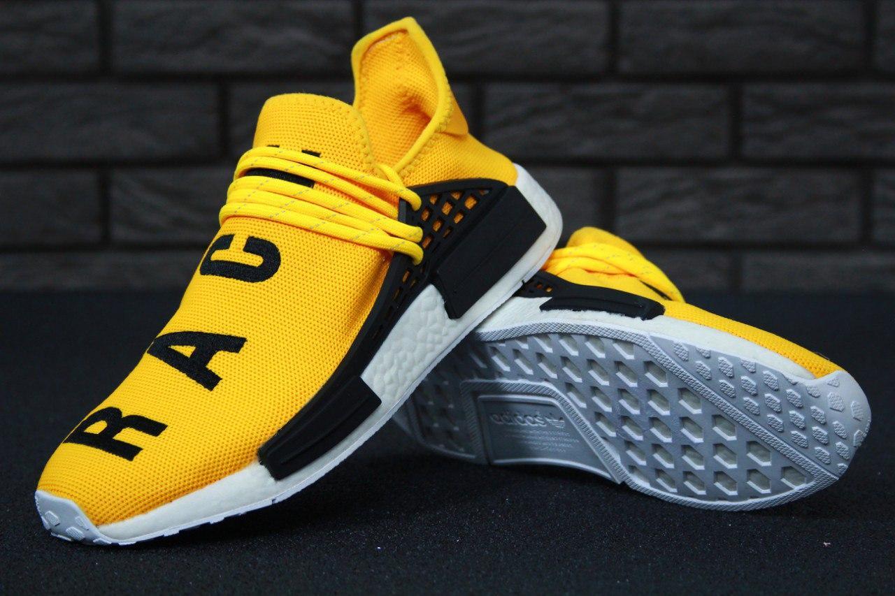 Мужские кроссовки Adidas NMD Williams Race - Human Race (Желто-черные)