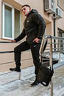 Комплект Ветровка мужская The North Face + спортивные штаны, весенняя/осенняя, цвет черный. Барсетка в подарок