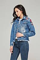 Джинсовая женская короткая куртка-пиджак Q–23 (44–52р)