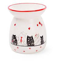 Арома-лампа керамическая с объемным рисунком Кошкин дом