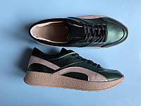 Кроссовки 508-4 зеленый перл + пудра сатин ( С157 пудра блеск), фото 1
