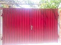 Ворота распашные профнастил с двух сторон.