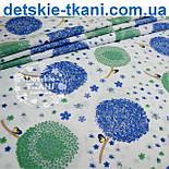 Лоскут ткани с цветочными одуванчиками голубого цвета  № 702а, фото 2
