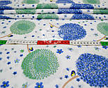 Лоскут ткани с цветочными одуванчиками голубого цвета  № 702а, фото 4