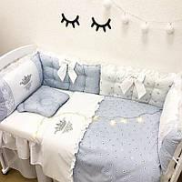 """Комплект в детскую кроватку - подушки """"Серебрянные сердечки"""""""