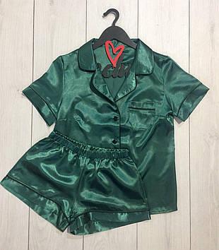 Изумрудный пижамный комплект для дома и сна: рубашка+шорты
