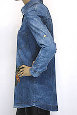 Женская рубашка-туника, джинсовая с вышивкой, фото 2