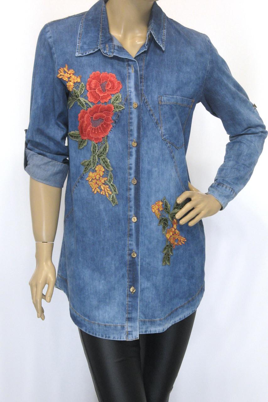 Женская рубашка-туника, джинсовая с вышивкой
