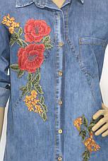 Женская рубашка-туника, джинсовая с вышивкой, фото 3