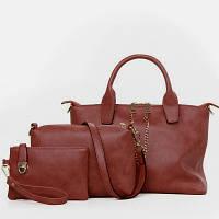 Набор сумок 3в1 с цепочкой (сумка, клатч, косметичка) рыжий, фото 1