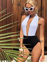 """Цельный женский купальник """"TILDA"""" с контрастным лифом (3 цвета)"""