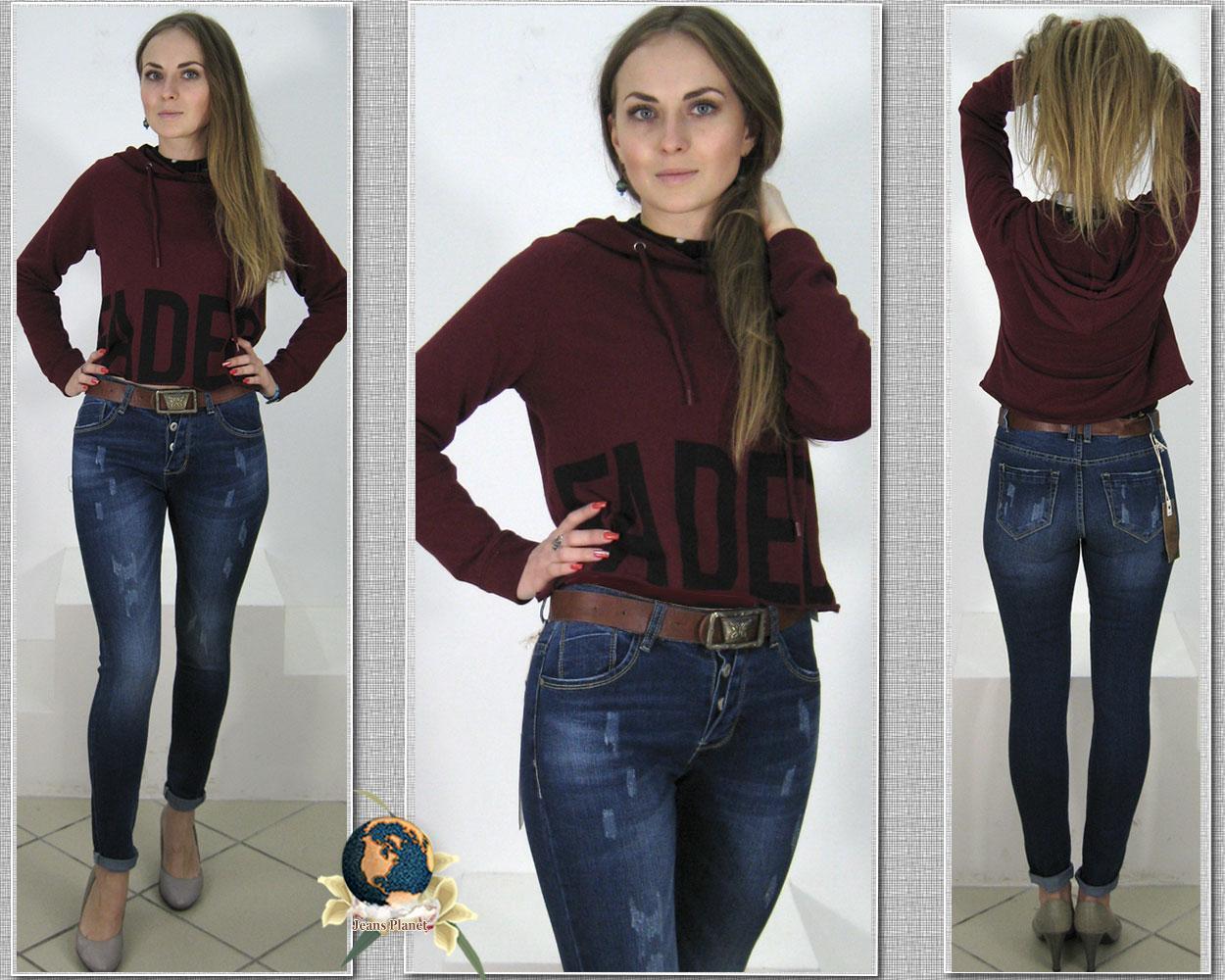 Джинсы женские зауженные модные с ремнём на пуговицах 29 размер