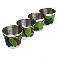 Набор из 4 рюмок камуфляж, Набір з 4 чарок камуфляж, Подарочные рюмки и бокалы