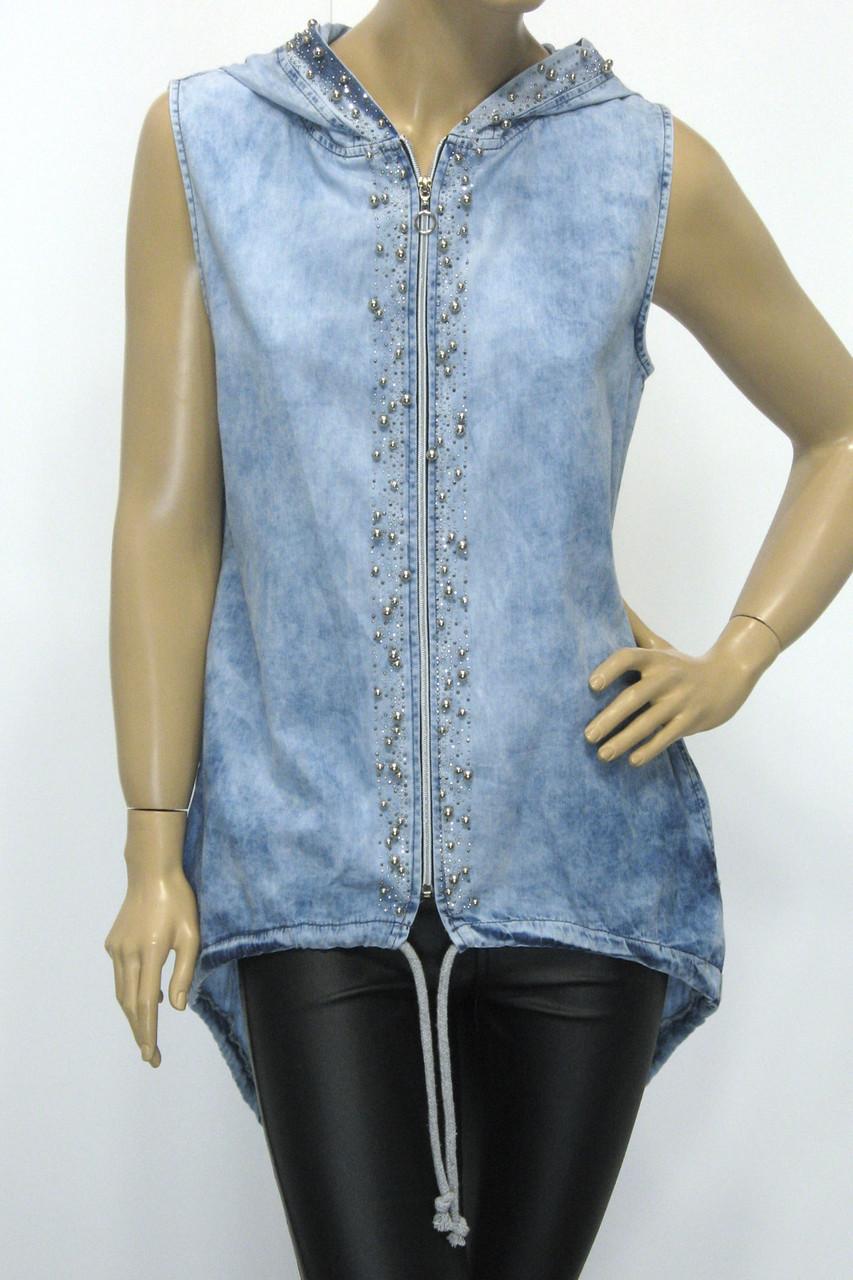Туніка джинсова з капюшоном без рукавів з стразами і перлинками