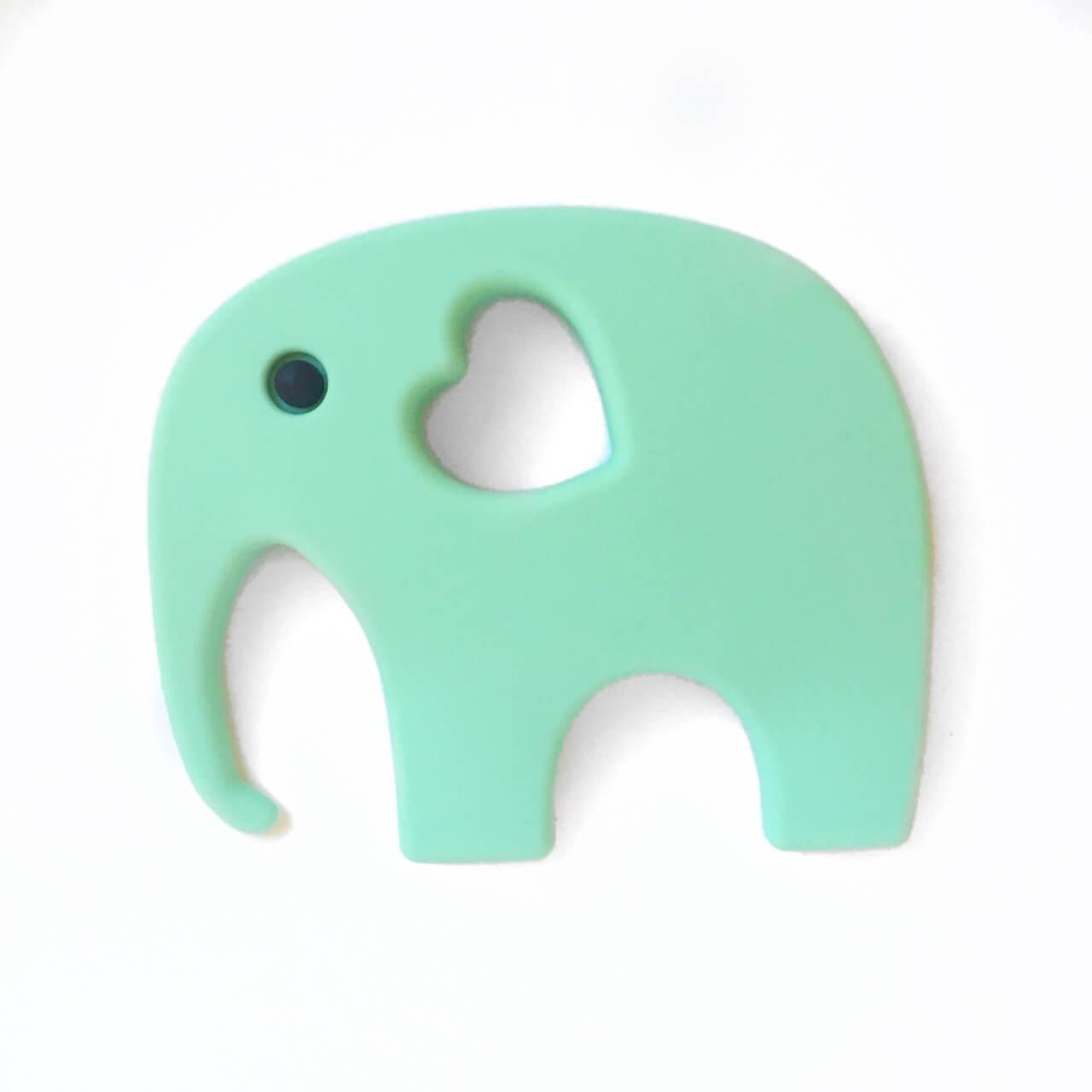 Слон с глазиком (мята) силиконовый грызунок