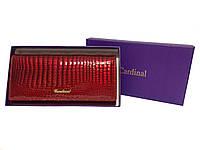 Женский кошелек лаковый кожаный Cardinal красный, фото 1