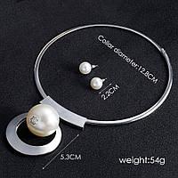 Стильный набор украшений под серебро колье и серьги  Hanbeishi