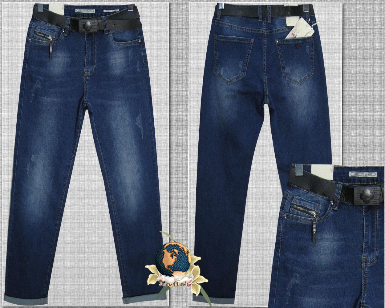 Модні жіночі прямі джинси з потертостями і ременем Version