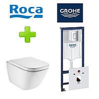Комплект инсталляция Grohe Rapid SL 38772001 + унитаз Roca Gap Clean Rim A34H47C000 с сидением Soft Close, фото 1