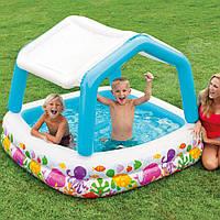 """Детский надувной бассейн со съемным навесом """"Аквариум"""" Intex 57470 цвет уточняйте, фото 1"""