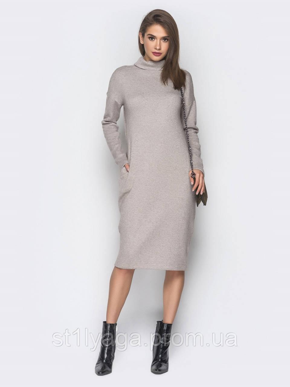 f491bd291b0 Теплое платье-гольф из ангоры длиной миди с воротником хомут и карманами в  боковых швах
