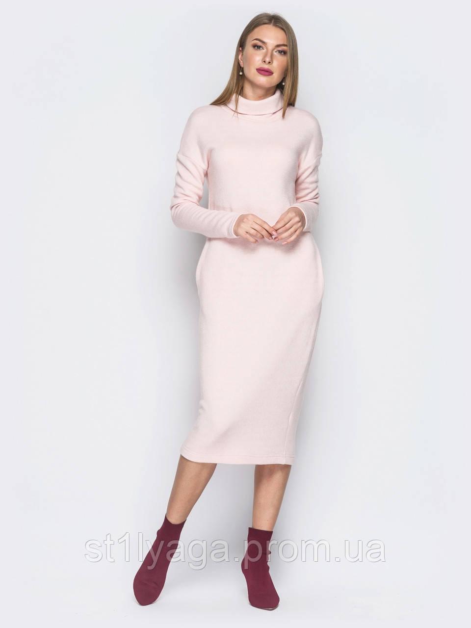 c735eacc2b3 ... Теплое платье-гольф из ангоры длиной миди с воротником хомут и карманами  в боковых швах ...