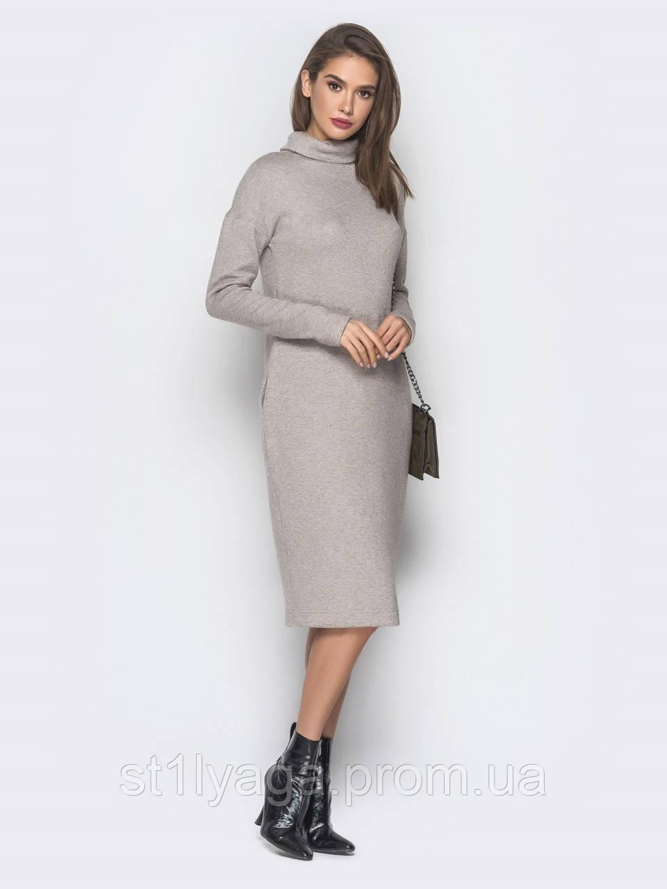 15bcf198c3e Теплое платье-гольф из ангоры длиной миди с воротником хомут и карманами в  боковых швах ...