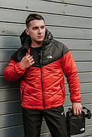 Комплект Ветровка мужская The North Face + спортивные штаны, весенняя/осенняя, цвет черно-красный + Барсетка