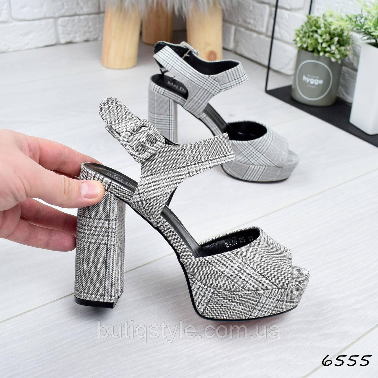 39 размер Красивые босоножки женские серые в клетку обувной текстиль