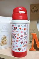 Термос детский с трубочкой Сердца, Дитячий Термос с трубочкою Серця, Термосы и ланч-боксы