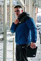 Комплект Ветровка мужская The North Face + спортивные штаны, весенняя/осенняя, цвет черно-синий + Барсетка