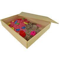 Деревянная песочница с крышкой для кинетического песка Большая