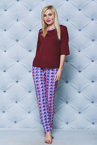 Пижама со штанами женская бордо