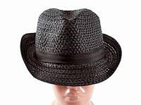 Соломенная шляпа Бевьер 28 см черная, Солом'яний капелюх Бевьер 28 см чорна, Соломенные шляпы