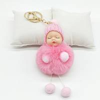Меховой брелок Куколка (розовый) Br013, фото 1