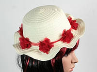 Соломенная шляпа детская Флюе 26 см бело-красная, Солом'яний капелюх дитяча Флюе 26 см біло-червона, Соломенные шляпы