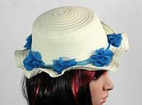 Соломенная шляпа детская Флюе 26 см бело-синяя, Солом'яний капелюх дитяча Флюе 26 см біло-синя, Соломенные шляпы