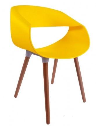 Стул Берта желтый, пластик с ножками из бука от SDM Group