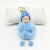 Меховой брелок куколка (голубой) Br015, фото 1