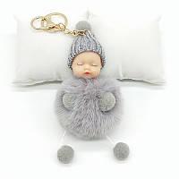 Меховой брелок куколка (серый) Br016, фото 1
