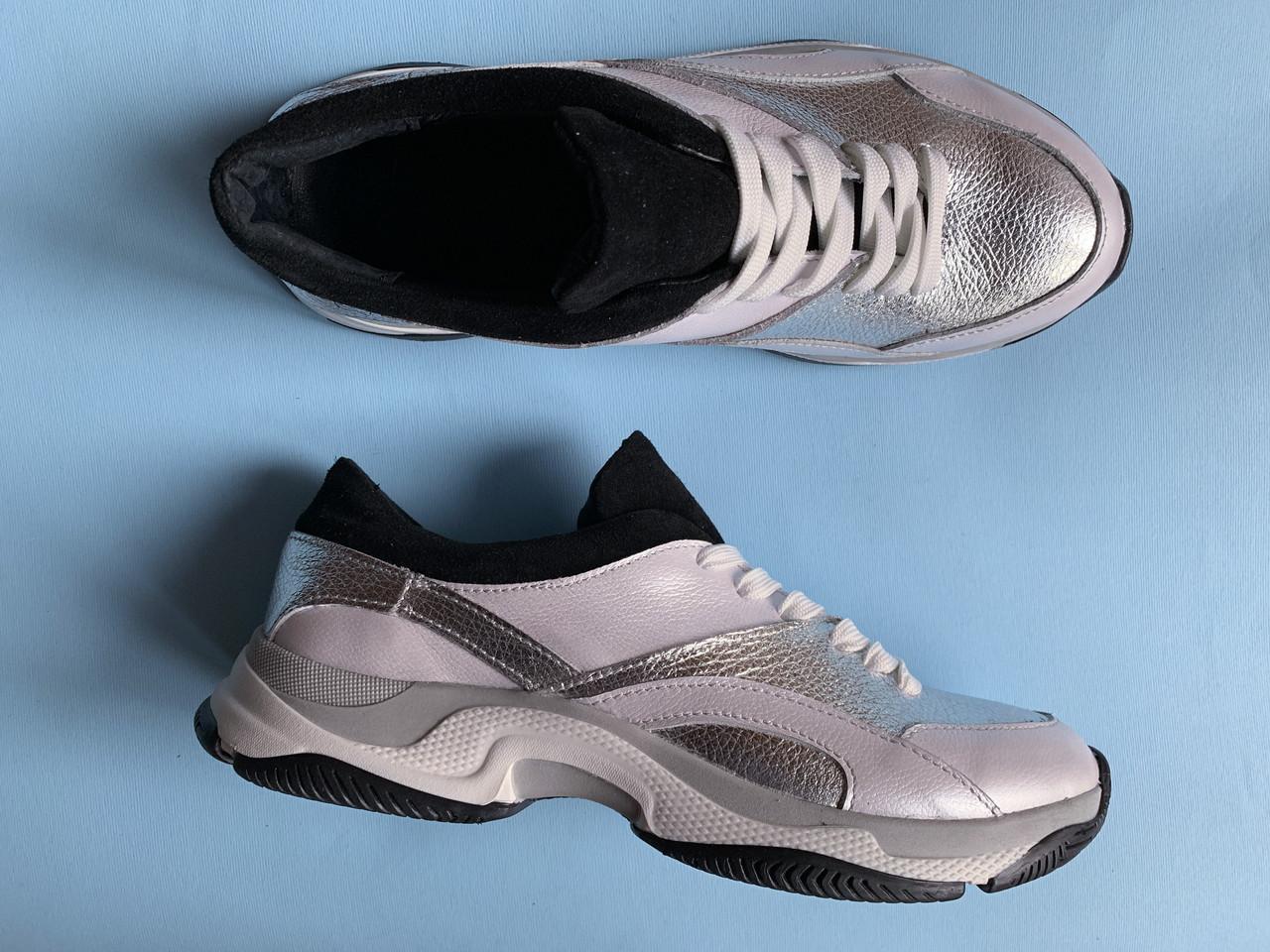 Кроссовки 508-16 белый перл + союзка серебро флот + черн замш (крос 3 черн след)