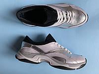 Кроссовки 508-16 белый перл + союзка серебро флот + черн замш (крос 3 черн след), фото 1