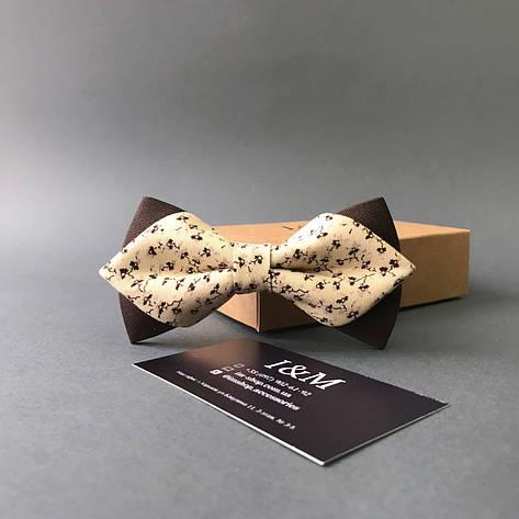 Галстук-бабочка I&M Craft с острыми концами бежевый с коричневым рисунком (100138N), фото 2